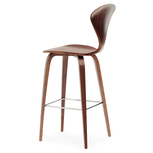 Norman Cherner Counter Bar Stool Wooden Base In Classic Walnut