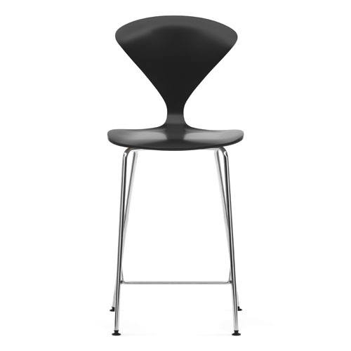 Norman cherner counter bar stool chrome base in ebony lacquer stardust - Norman cherner barstool ...