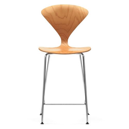 Norman cherner counter bar stool chrome base in natural beech stardust - Norman cherner barstool ...