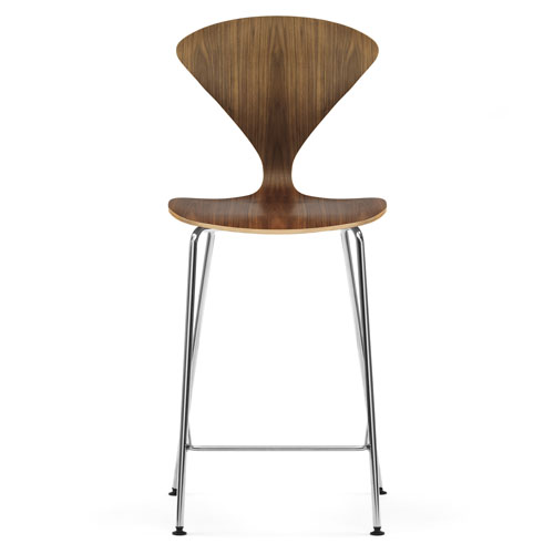 Norman Cherner Counter Bar Stool ... - Norman Cherner Counter Bar Stool Chrome Base In Natural Walnut