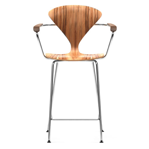 Norman cherner bar stool with arms chrome base in red gum stardust - Norman cherner barstool ...