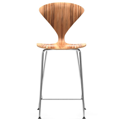 Norman Cherner Counter Bar Stool Chrome Base In Red Gum Stardust