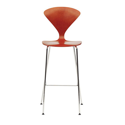 Norman Cherner Counter Bar Stool ... - Norman Cherner Counter Bar Stool Chrome Base In Stella Orange