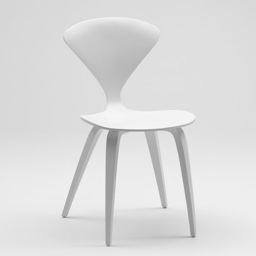 Norman Cherner Side Chair In White Lacquer Stardust