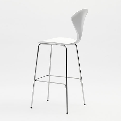 Norman Cherner Counter Bar Stool ... - Norman Cherner Counter Bar Stool Chrome Base In White Lacquer