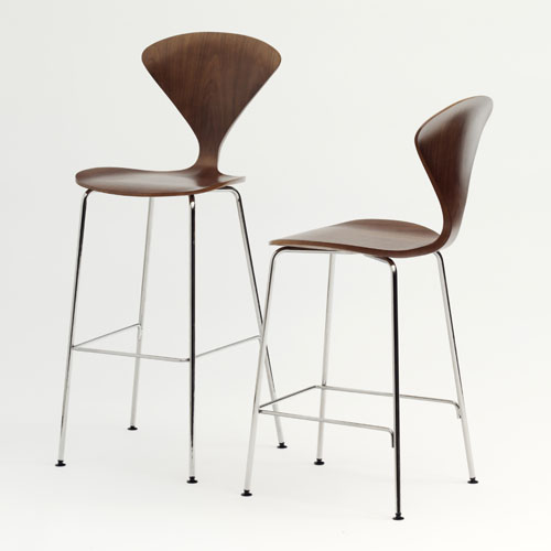 Norman Cherner Counter Bar Stool ... - Norman Cherner Counter Bar Stool Chrome Base In Classic Walnut
