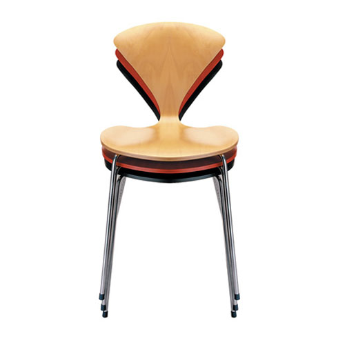 norman cherner stacking side chair chrome base