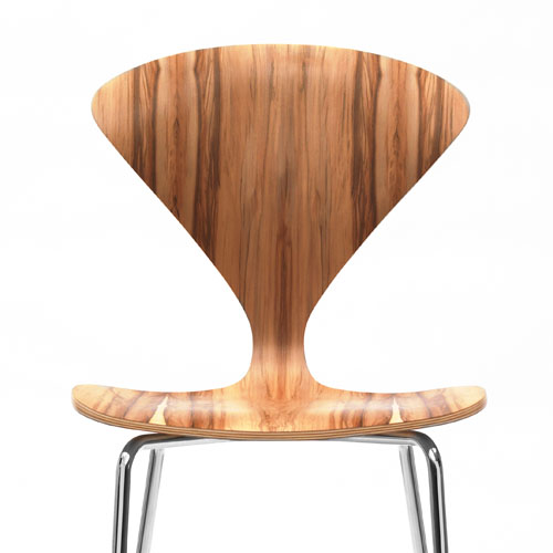 Norman Cherner Counter Bar Stool ... - Norman Cherner Counter Bar Stool Chrome Base In Red Gum Stardust
