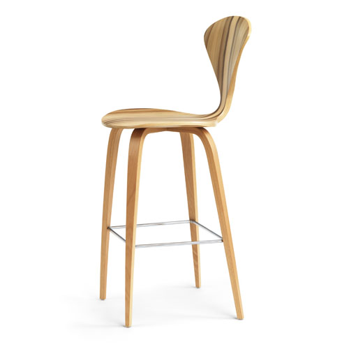 Norman Cherner Counter Bar Stool Wooden Base In Red Gum