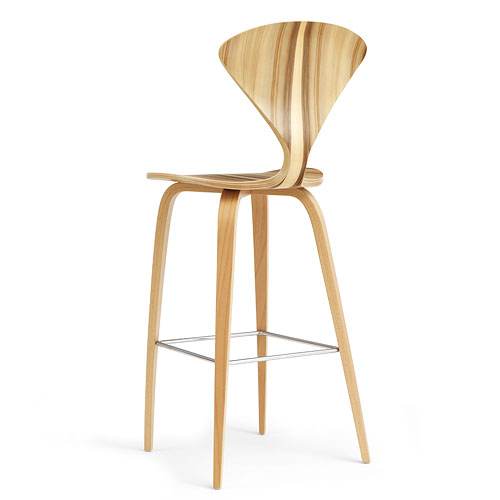 Norman Cherner Counter Bar Stool ... - Norman Cherner Counter Bar Stool Wooden Base In Red Gum Stardust