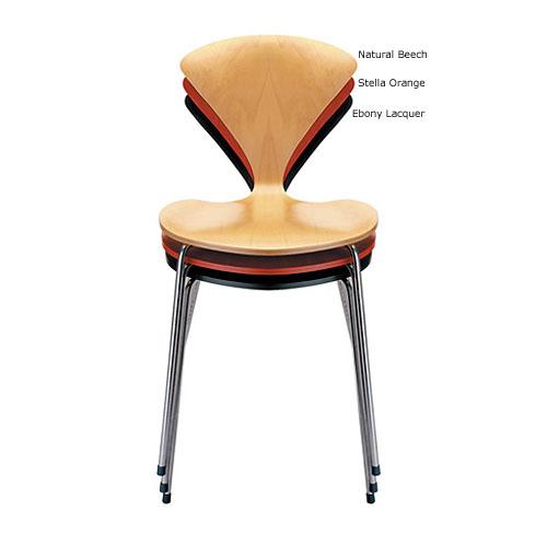norman cherner stacking side chair chrome base stella orange seat