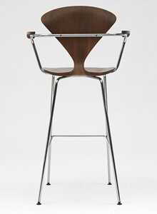 separation shoes 6a0db 261ef Norman Cherner Bar Stool with Arms Chrome Base in Classic Walnut