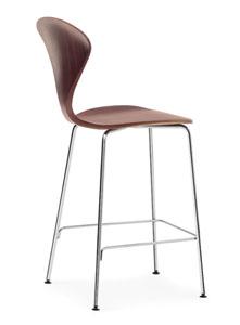 Norman cherner counter bar stool chrome base in classic walnut stardust - Norman cherner barstool ...