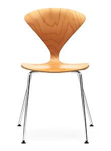 norman cherner stacking side chair chrome base natural. Black Bedroom Furniture Sets. Home Design Ideas