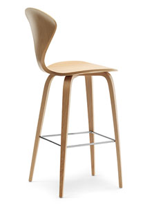 Norman Cherner Counter Bar Stool Wooden Base In Natural