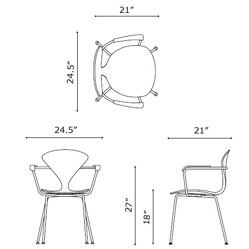 Norman Cherner Armchair Chrome Base And Arms With Natural