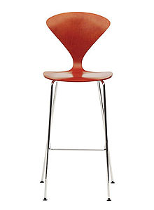 Norman cherner counter bar stool chrome base in stella orange stardust - Norman cherner barstool ...