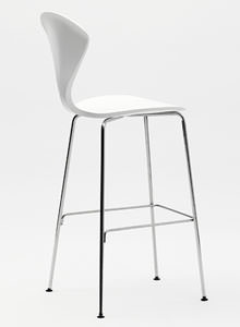 Norman Cherner Counter Bar Stool Chrome Base In White Lacquer ...