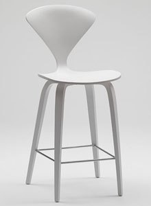 Norman Cherner Counter Bar Stool Wooden Base In White