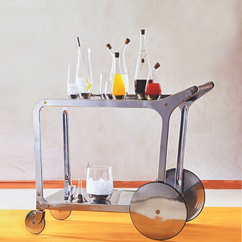 Streamlined Silver Bar Cart With Wheels