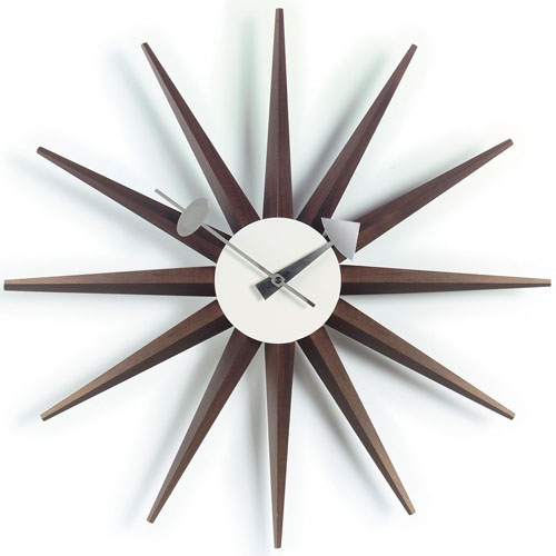 sunburst clock walnut vitra. Black Bedroom Furniture Sets. Home Design Ideas