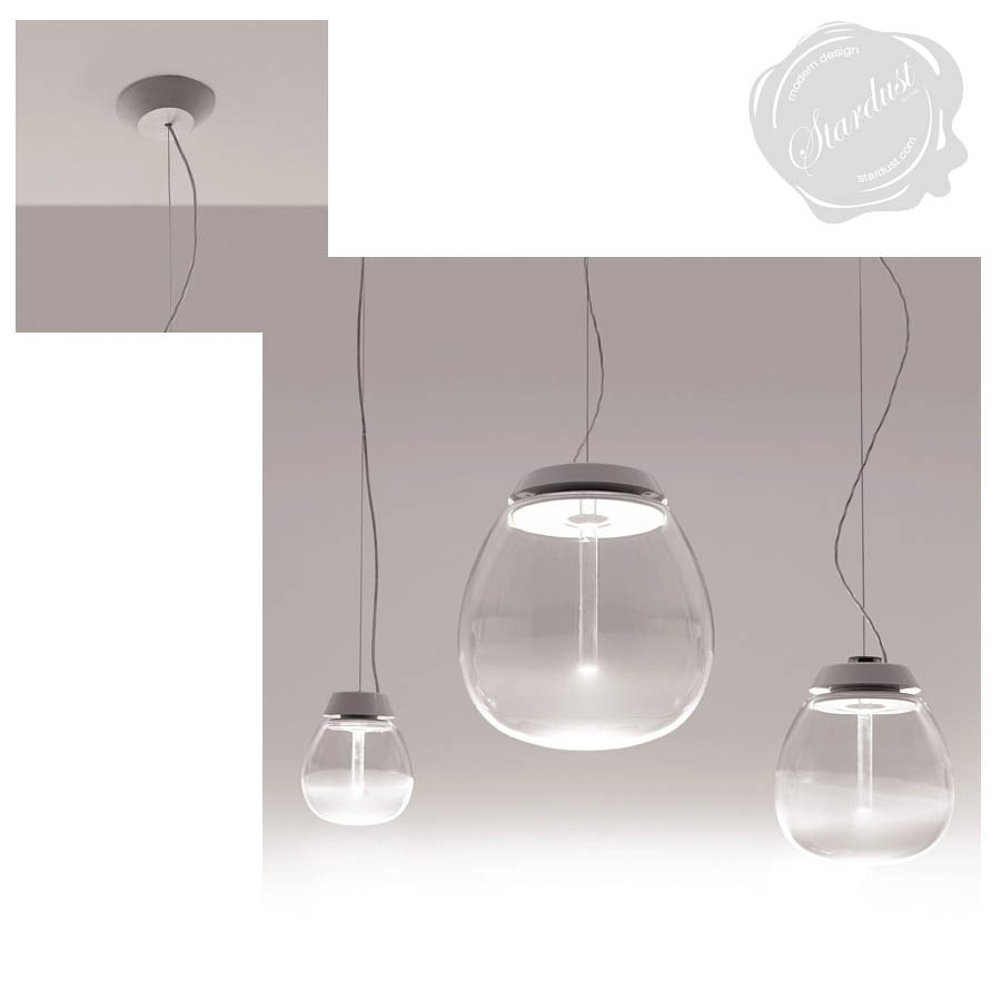 Empatia 162636 frosted clear modern glass pendant light by artemide arubaitofo Gallery