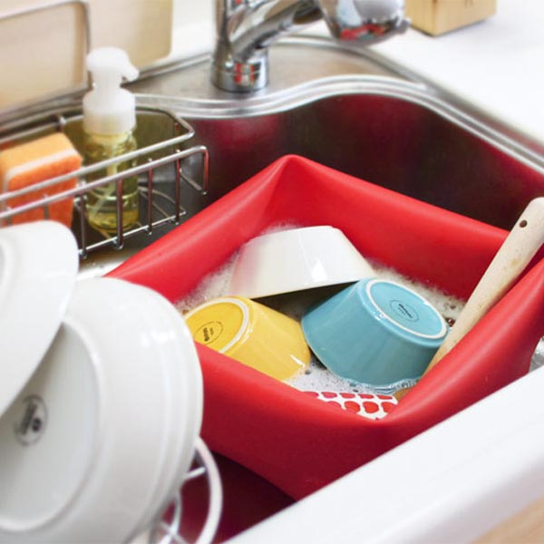 Funky Square Washing UP Bowl For Sink/Camping With Handles And Brush |  Stardust