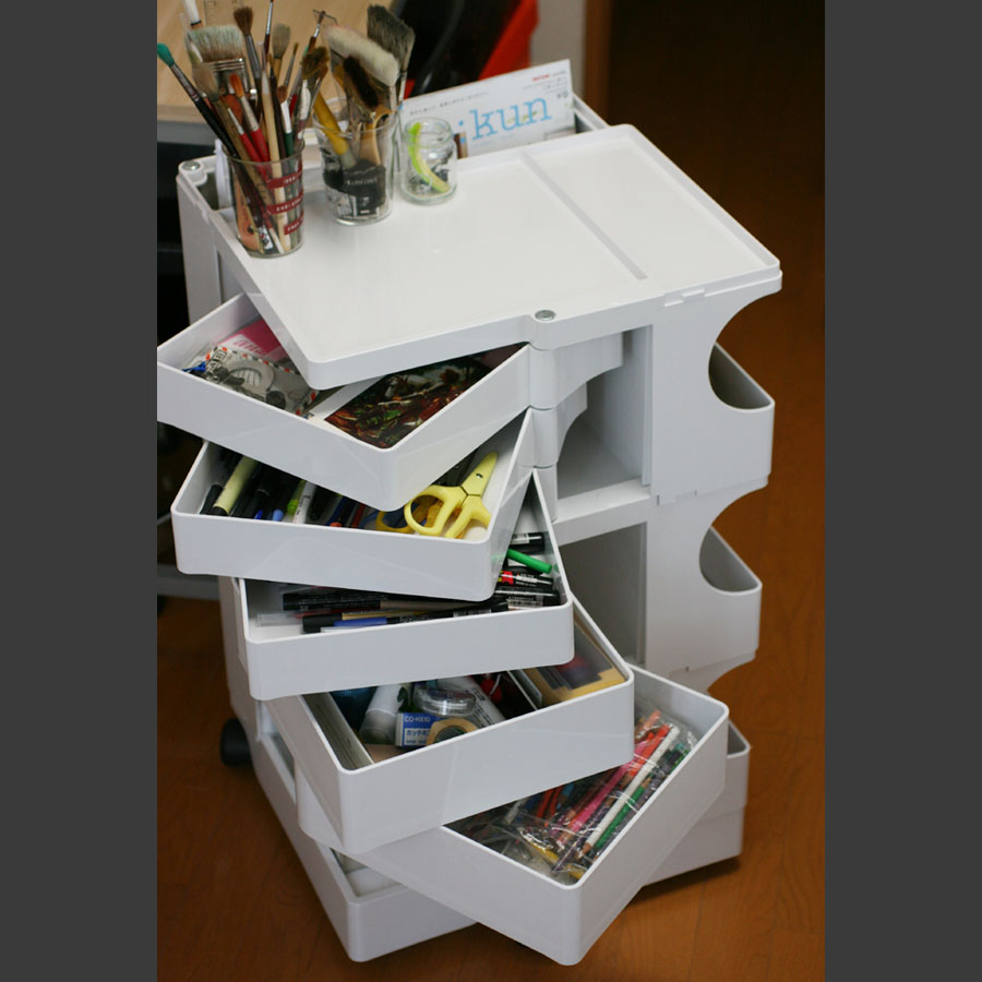 Joe Colombo Boby Mobile Office Organizer B35 3 Sections 5 Drawers