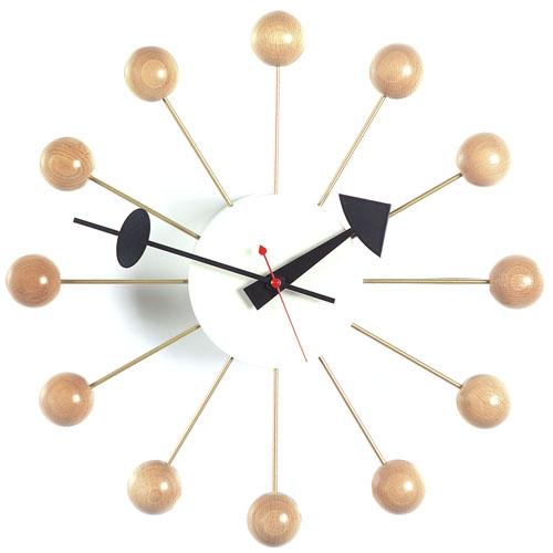 beech ball clock nelson george vitra replica block
