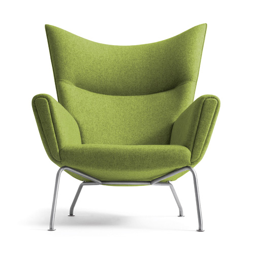 Green Chairs hans wegner ch445 wing lounge chair in spring green | stardust