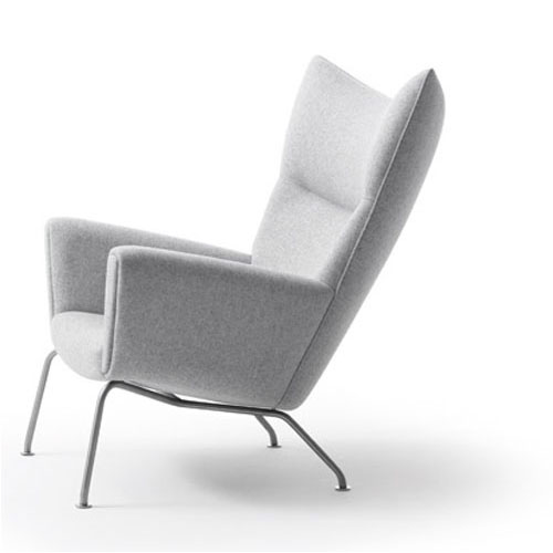 Hans Wegner CH445 Wing Lounge Chair With Light Grey Wool