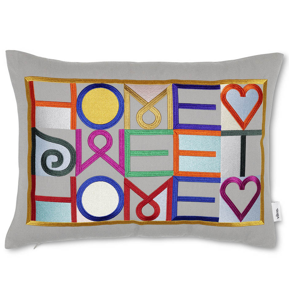 Home Sweet Home Embroidered Pillow (Grey) by Vitra