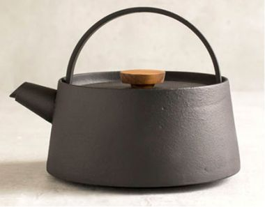 Japanese Traditional Cast Iron Teapot Kettle With Walnut Handle