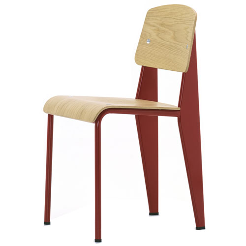 Beau Vitra Standard Chair Red Frame Natural Oak By Jean Prouve