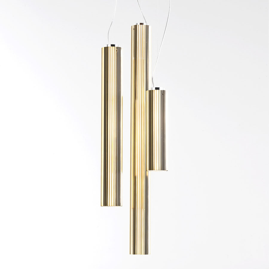 RIFLY™ Modern Suspension Light with Metallic Gold Finish from Kartell Lighting  sc 1 st  Stardust Modern Design & RIFLY™ Modern Suspension Light with Metallic Gold Finish from ...