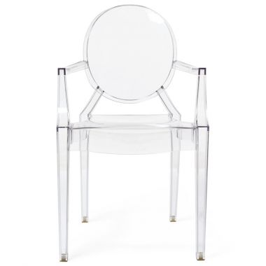 Kartell Louis Ghost Modern Clear Dining Armchair By Philippe Starck