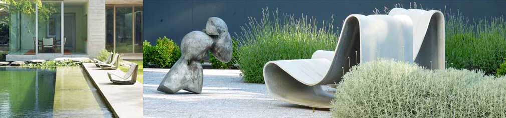 modern concrete garden lounge chair