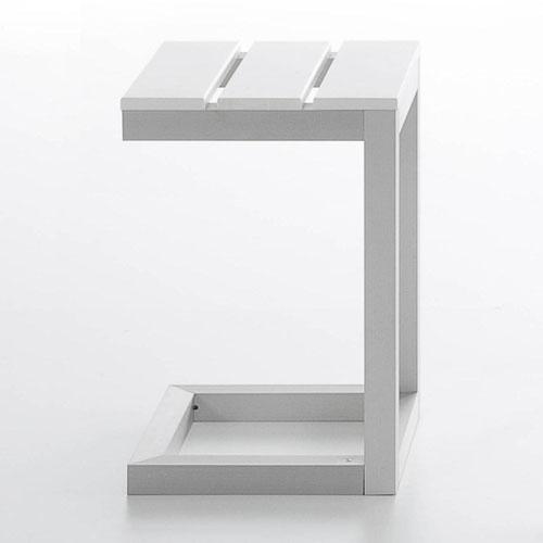 white outdoor side table. Gandia Blasco Mesa Auxiliar Saler Modern Outdoor Side Table White E
