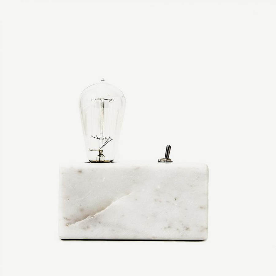 Basic Small Bedside Table Lamp W/Marble Base, White Or Black