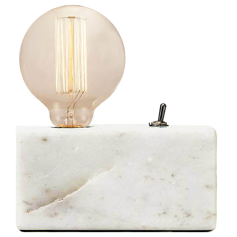 Etonnant Basic Small Bedside Table Lamp W/Marble Base, White Or Black