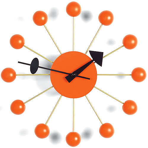 Vitra nelson ball clock orange by george nelson stardust for Nelson wall clock
