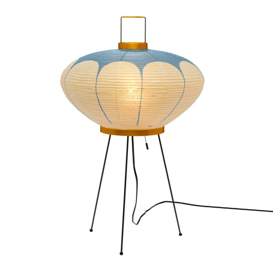 Noguchi Model Akari 9ad Table Lamp With Paper Lantern Shade Blue Stardust