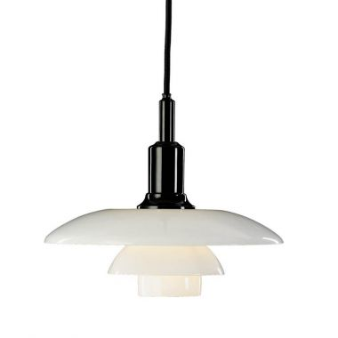 Louis Poulsen PH 32 White Glass Pendant Light by Poul Henningsen