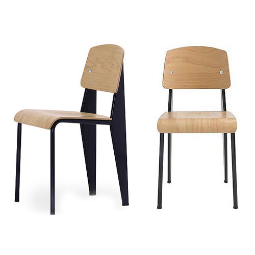 Superbe Vitra Standard Chair Black Frame Natural Oak By Jean Prouve