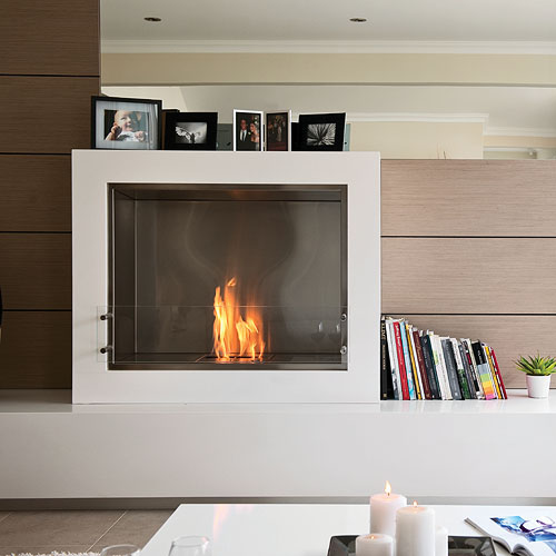 The Aspect fireplace was designed by Paul Cohen for EcoSmart Fire. The EcoSmart Aspect