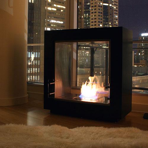 Ecosmart fire fusion ventless designer fireplace stardust for Ventless modern fireplace