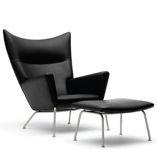 hans wegner ch445 wing lounge chair in black leather - Leather Lounge Chair