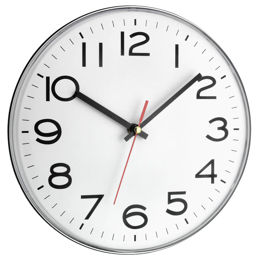 standard classic-white office wall clock with large black numbers
