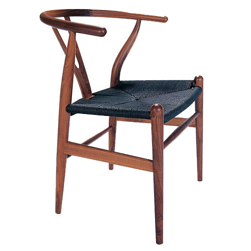 hans wegner ch24 wishbone chair in walnut with black papercord seat