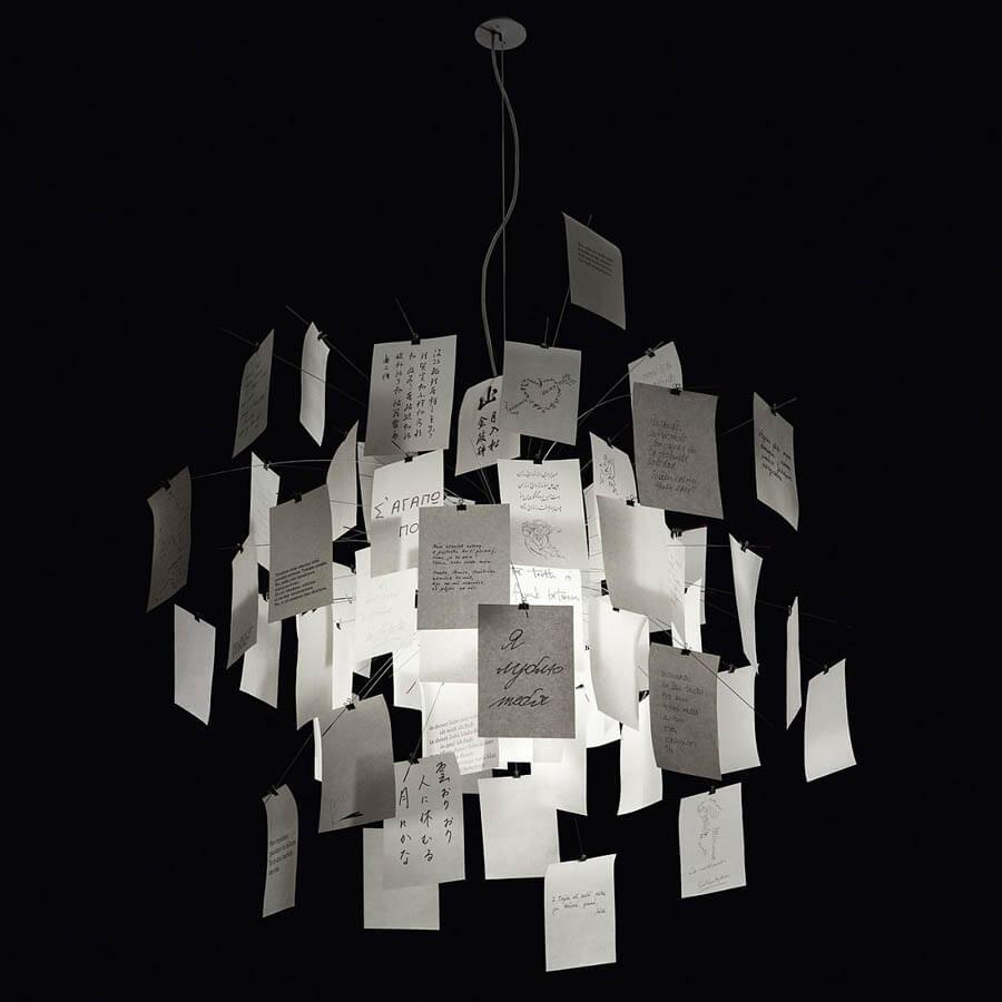 Zettelz 5 chandelier stardust zettelz 5 4724 in white paper chandelier by ingo maurer aloadofball Image collections